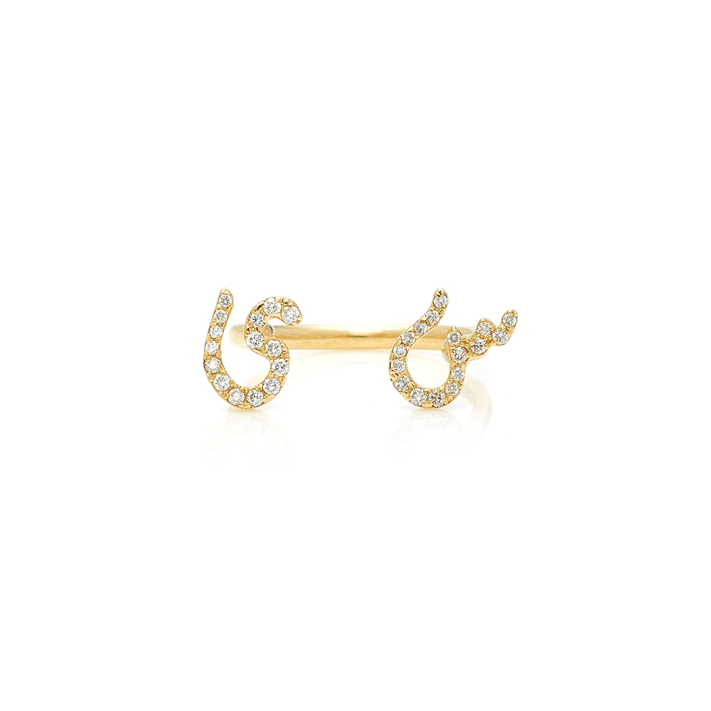 Tiny Treasures Perso-Arabic Double Initial Between Fingers Ring