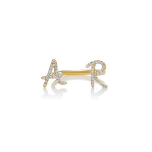 Tiny Teasures Roman Double Initial Between Fingers Ring