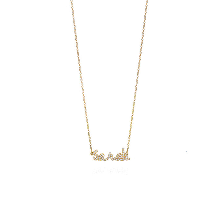 Tiny Treasures English Diamond Name Necklace