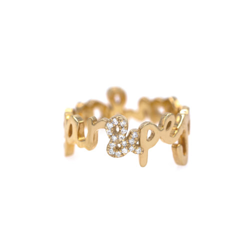 Two English Names Ring with Diamond Accent