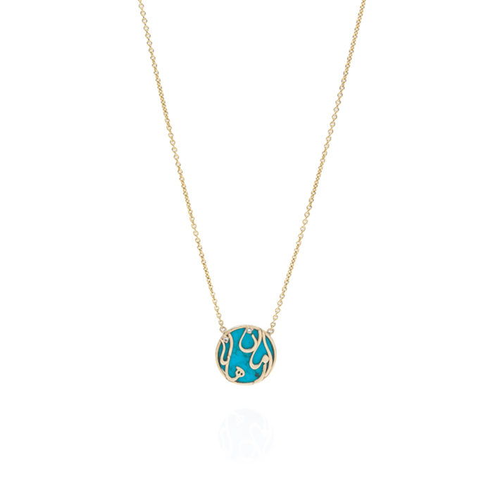 Gold Persian - Arabic Double Name Necklace On Stones