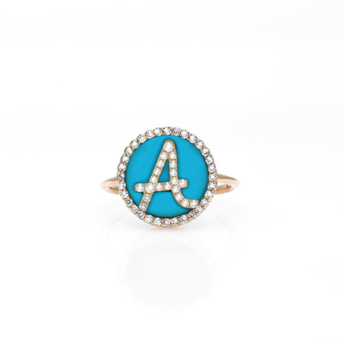 Treasure Disk Roman Initial Ring With Gemstone