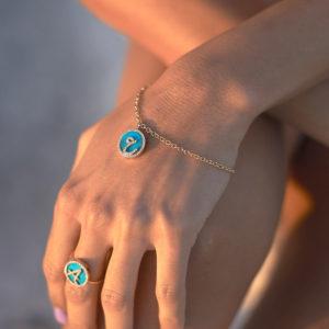 Treasure Disk Persian – Arabic Initial Bracelet With Gemstone