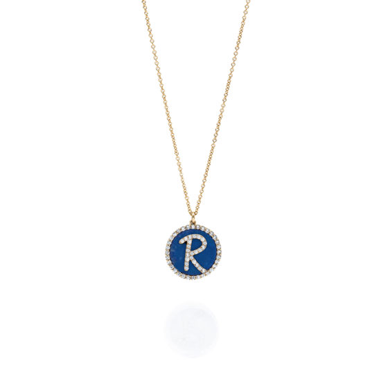 Roman Initial Necklace With Gemstone