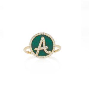 Treasure Disk Roman Initial Ring With Gemstone