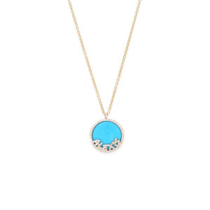Treasure Disk Name Necklace With Gemstone