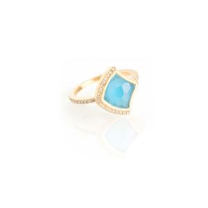 Kashan Large Single Ring in Swiss Blue topaz