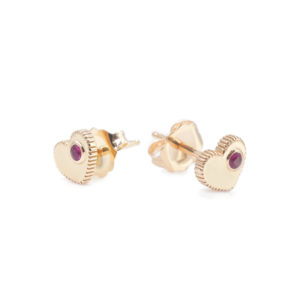 SHIVA Coin Edge Tiny Heart Stud Earrings